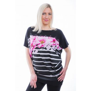 Rucy Fashion rövid ujjú fekete csíkos alapon rózsaszín virág mintás lezser felső