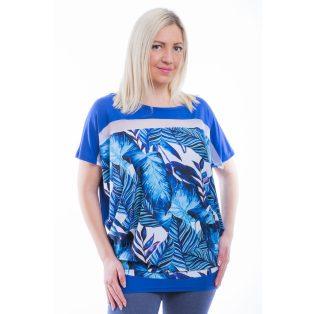 Rucy Fashion rövid ujjú királykék alapon tropical pálmalevél mintás lezser felső