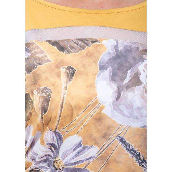 Rövid ujjú mustár alapon virágmintás lezser felső