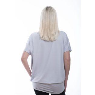 Rucy Fashion  ezüstszürke alapon csíkos-virágos rövid ujjú lezser felső