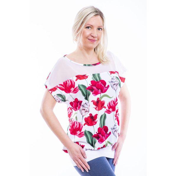 Rövid ujjú, fehér, tulipános passzés felső