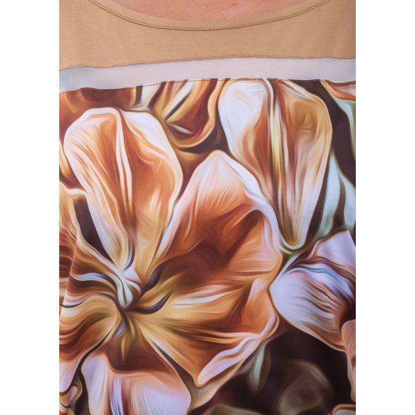 Rövid ujjú fahéj alapon, színátmenetes virág mintás lezser felső
