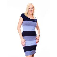 Szűk fazonú kék csíkos ruha