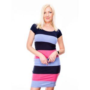 Szűk fazonú kék-pink csíkos ruha