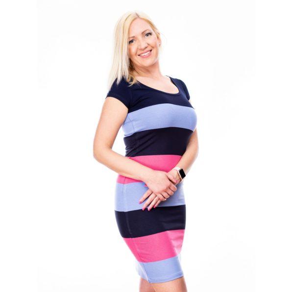 kereknyakú szűk ruha, csíkos szűk ruha, hétköznapi csini ruha, rucy fashion, pink-kék csíkos ruha
