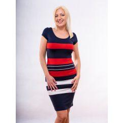 matróz csíkos ruha, sötékék-piros-fehér csíkos nyári ruha, hétköznapi csini ruha, belebújós ruha