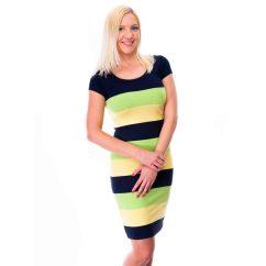 kiwi csíkos ruha, belebújós csinos ruha, belebújós szűk pamutruha, belebújós csinos kismama ruha