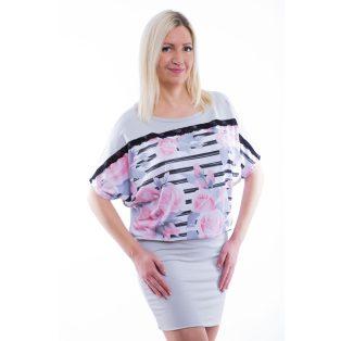 Rucy Fashion ezüstszürke alapon csíkos-virágos denevér fazonú tunika / ruha