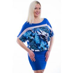 Rucy Fashion rövid ujjú királykék alapon tropical pálmalevél mintás denevér fazonú tunika / ruha