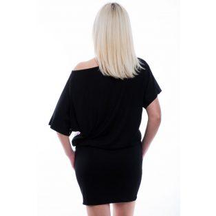 Rucy Fashion fekete alapon virágos denevér fazonú tunika / ruha