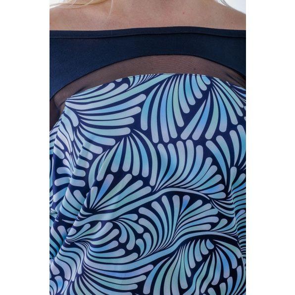 Rövid ujjú sötétkék alapon türkiz absztrakt mintás ruha / tunika