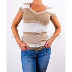bézs színű póló, V nyakú csíkos póló, őszi egyszerű póló