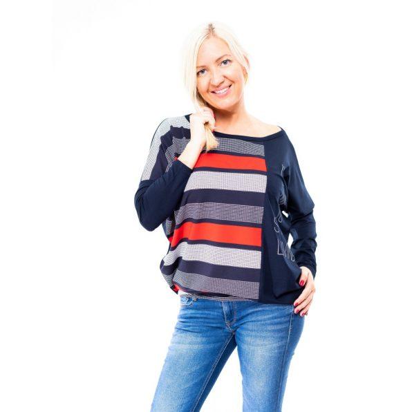 sötétkék-piros csíkos felső, csíkos tunika, félig csíkos tunika, rucy fashion tunika