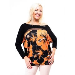fekete-mustar virágmintás őszi felső, őszi tunika virágmintás, klasszikus rucy fashion tunika,