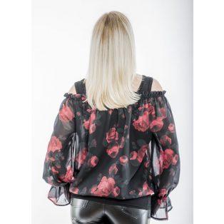 Hosszú ujjú fekete alapon muszlin piros rózsa mintás húzott vállú blúz trikóval