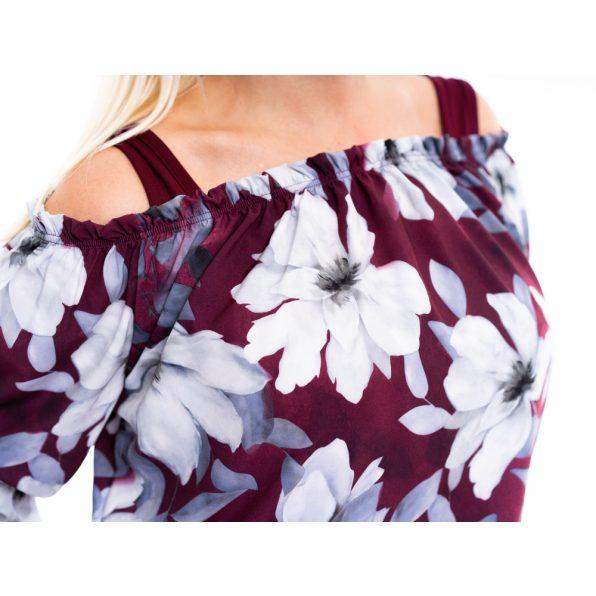 silky selyem felső, virágmintás selyem tunika, húzott vállú selyem blúz, rucy fashion, bordó
