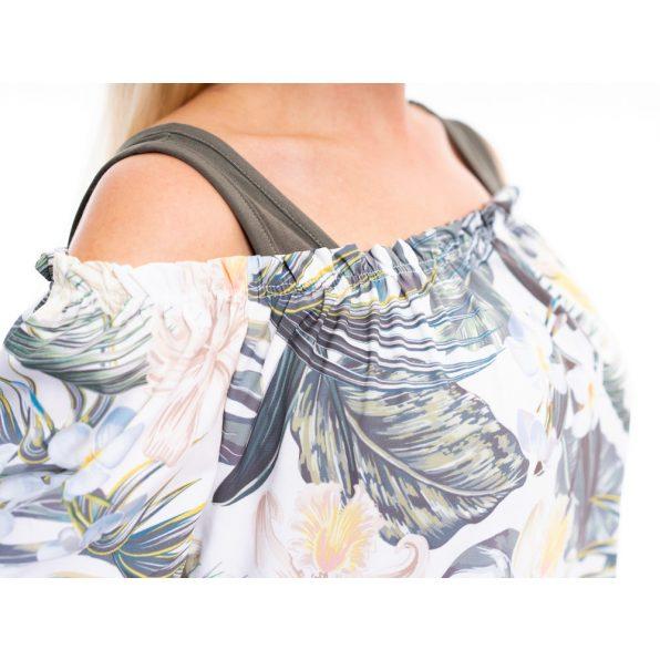 silky selyem felső, virágmintás selyem tunika, húzott vállú selyem blúz, rucy fashion, khaki