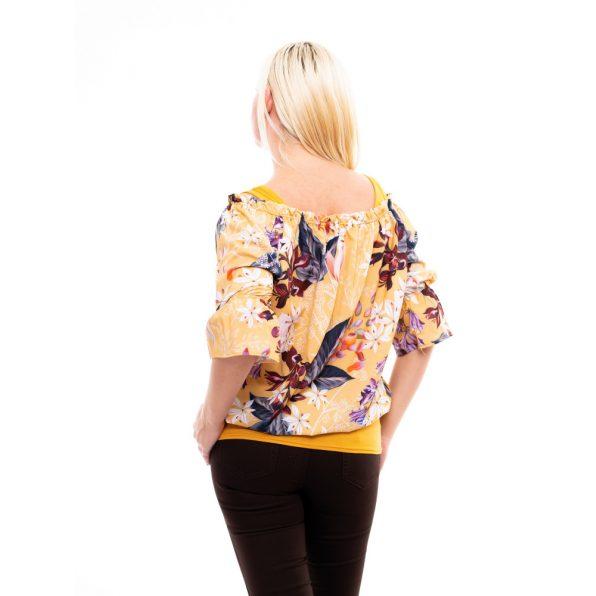 silky selyem felső, virágmintás selyem tunika, húzott vállú selyem blúz, rucy fashion, mustár