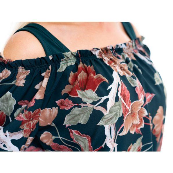 silky selyem felső, virágmintás selyem tunika, húzott vállú selyem blúz, rucy fashion, sötétzöld