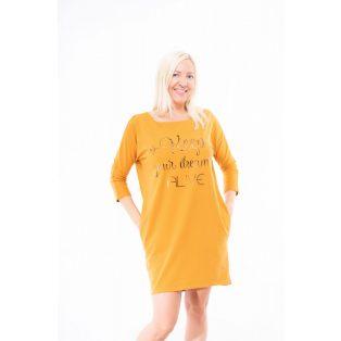 mustár színű tunika, masnis tunika, őszi tunika, rucy fashion őszi tunika, zsebes tunika