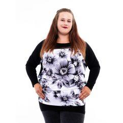 fekete-fehér alkalmi felső, hétköznapi csinos tunika nagy méretben, rucy fashion tunika