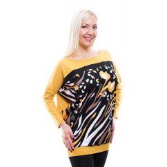 Rucy Fashion fekete alapon mustár-fehér-barna mintás lezser felső, hosszú ujjú denevér tunika
