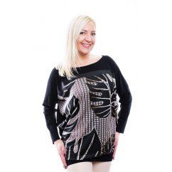 Rucy Fashion fekete pálmaleveles lezser felső, hosszú ujjú, denevér fazonú tunika