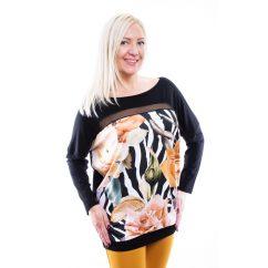 Rucy Fashion Zebra mintás mustár virágos lezser felső, denevér fazonú, hosszu ujjú tunika