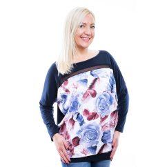Rucy Fashion sötétkék lezser felső kék-bordó virágos mintával, denevér hosszú ujjú tunika