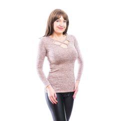 Rucy Fashion púder, hosszú ujjú vékony kötött felső ezüst szállal és szirom formájú dekoltázzsal