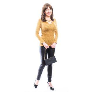 Rucy Fashion mustár, hosszú ujjú vékony kötött felső ezüst szállal és szirom formájú dekoltázzsal