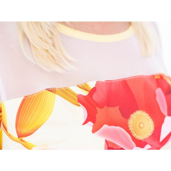 tüllös felső, tüllös virágmintás tunika, alkalmi felső tavaszra, korall árnyalatú tunika,