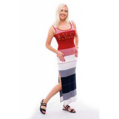 széles csíkos nyári ruha, rucy fashion maxi ruha, matróz színű különlegesebb ruha,kismama nyári ruha