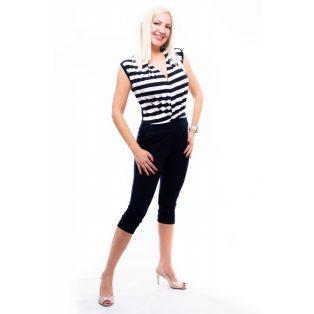 kék-fehér csíkos overál, capri nadrágos overál, elegáns overál, kényelmes overál,rucy fashion overál