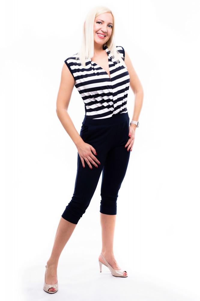 6b398695c9 kék-fehér csíkos overál, capri nadrágos overál, elegáns overál, kényelmes  overál,