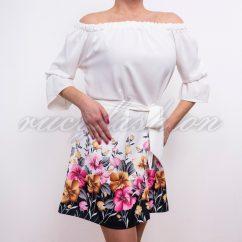 ekrü tavaszi ruha, virágos aljú ruha, bordűrös aljú ruha, derékkötős ruha, tavaszi alkalmi ruha