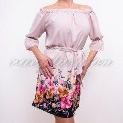 púder színű ruha, virágmintás púder színű tunika, derékkötős tunika,