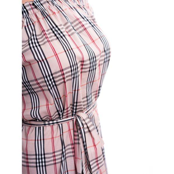 bézs-pepita kockás ruha, húzott vállú kockás ruha, country kockás csajos ruha, csajos country ruha