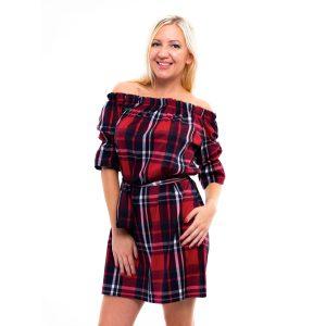 kék-piros kockás ruha, húzott vállú kockás ruha, country kockás csajos ruha, csajos country ruha