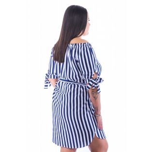 Kék-fehér csíkos vállán húzott kötős ruha