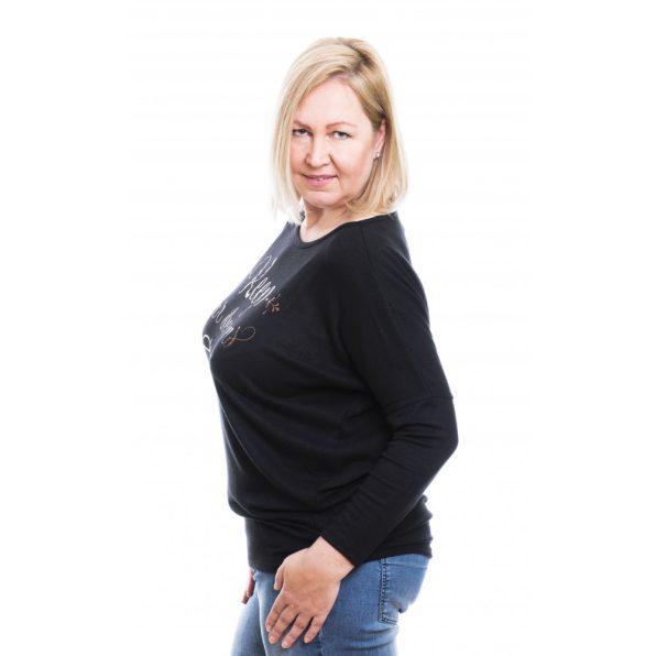 Rucy Fashion fekete puha, vékony kötött lezser felső, hosszú ujjú denevér tunika