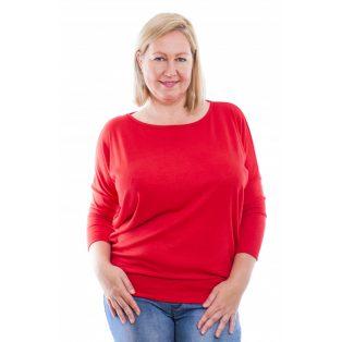 Rucy Fashion piros puha, vékony kötött lezser felső, hosszú ujjú denevér tunika