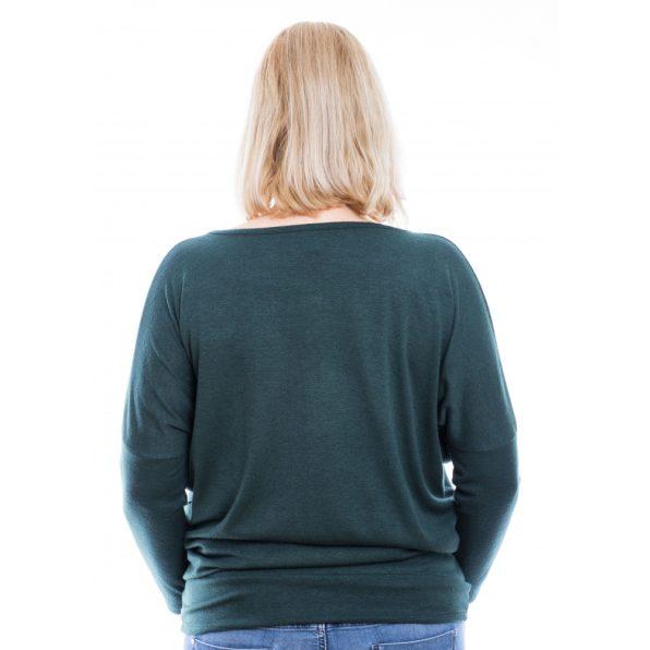 Rucy Fashion zöld puha, vékony kötött lezser felső, hosszú ujjú denevér tunika