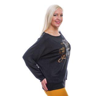 Rucy Fashion fekete puha, vékony kötött hosszú ujjú, passzés derekú, denevér fazonú felső