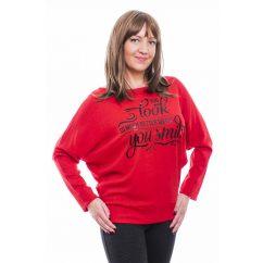 Rucy Fashion piros puha, vékony kötött denevér fazonú hosszú ujjú passzés női felső