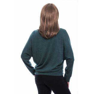 Rucy Fashion zöld puha, vékony kötött denevér fazonú passzés, hosszú ujjú női felső