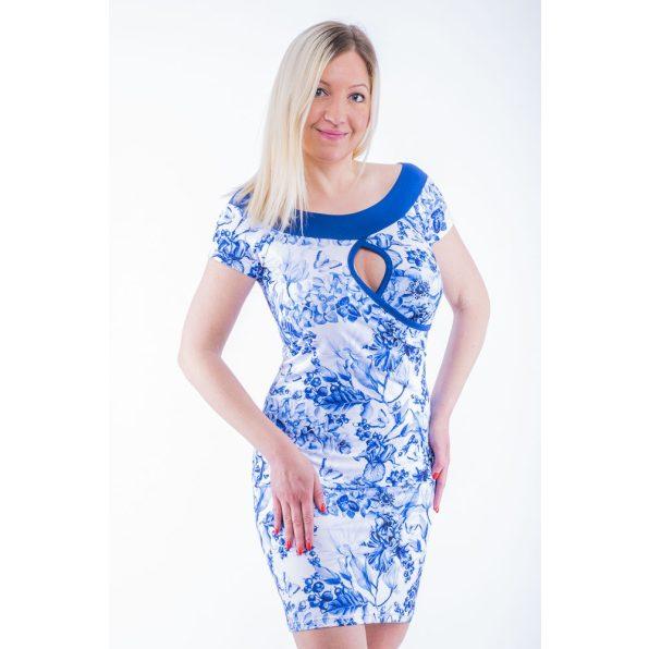 Átlapolt ruha kék virág mintával