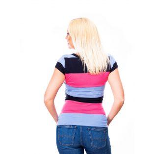 csíkos póló, V-nyakú felső, szűk szabású felső,pik-kék felső,pamutos poló,nyári póló,