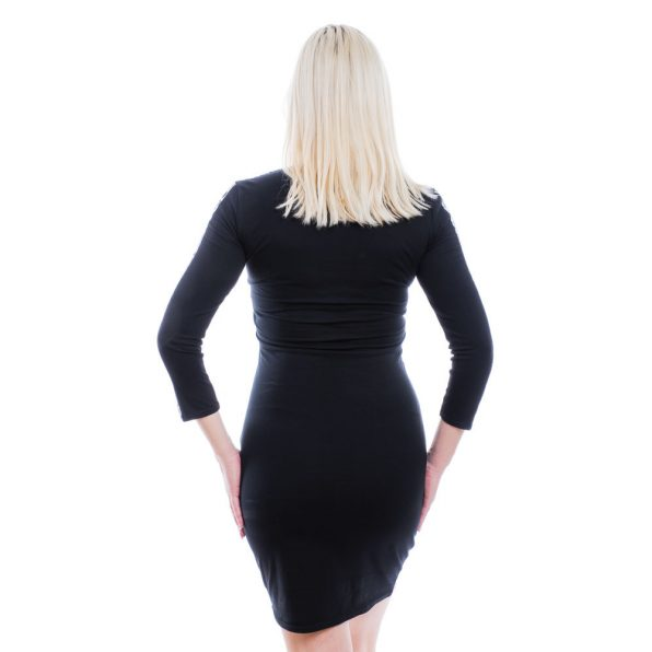 Rucy Fashion fekete-fehér jacquard V-nyakú ruha