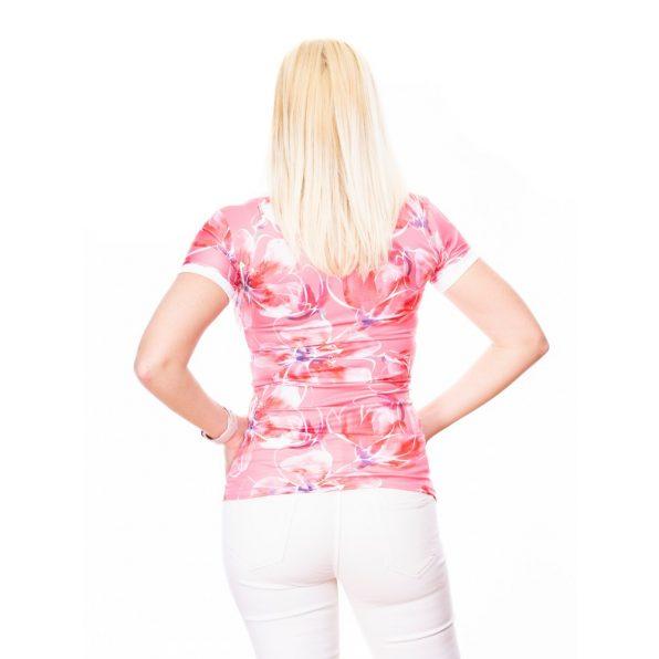 rózsaszín virágos felső, V nyakú kivágott felső, szűkszabású tavaszi felső,